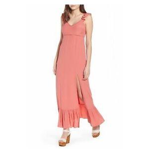 Leith Ruffle Maxi Dress, Peach
